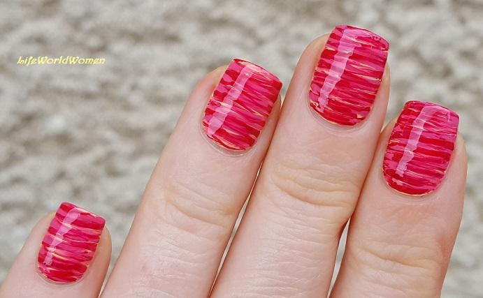 Life World Women Fan Brush Nail Art Dark Pale Pink Yellow Nails