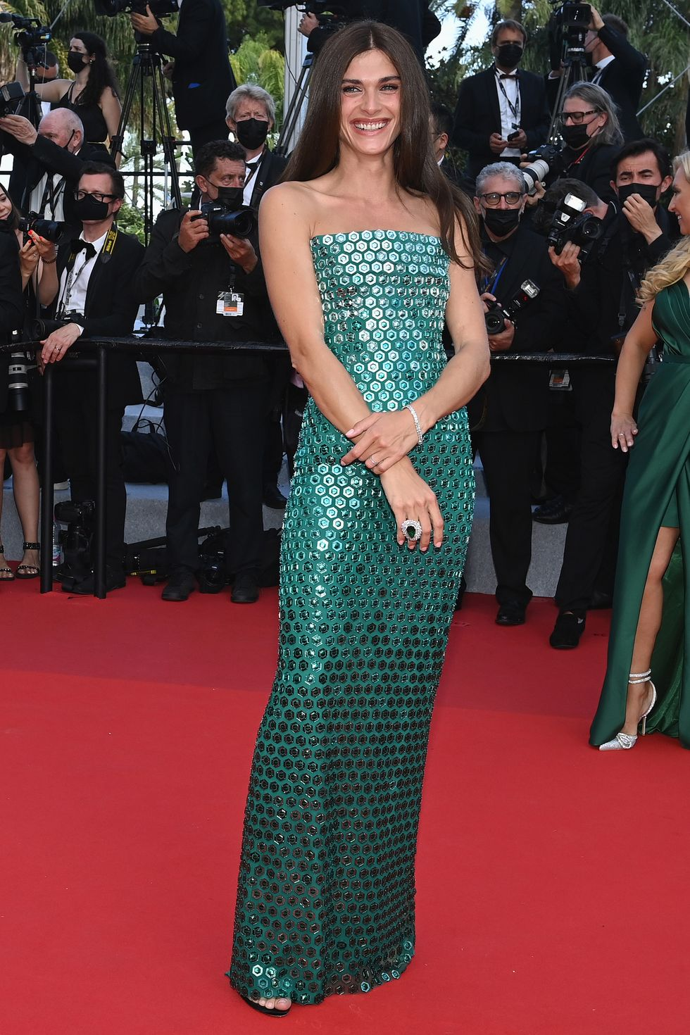Elisa Sednaoui The model was a true mermaid on the red carpet in a shimmering, foil-covered Alberta Ferretti gown.