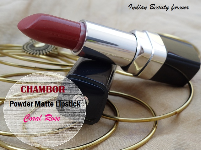 Chambor Powder Matte Lipstick in Coral Rose, shades, price