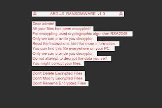 Argus Ransomware wallpaper note