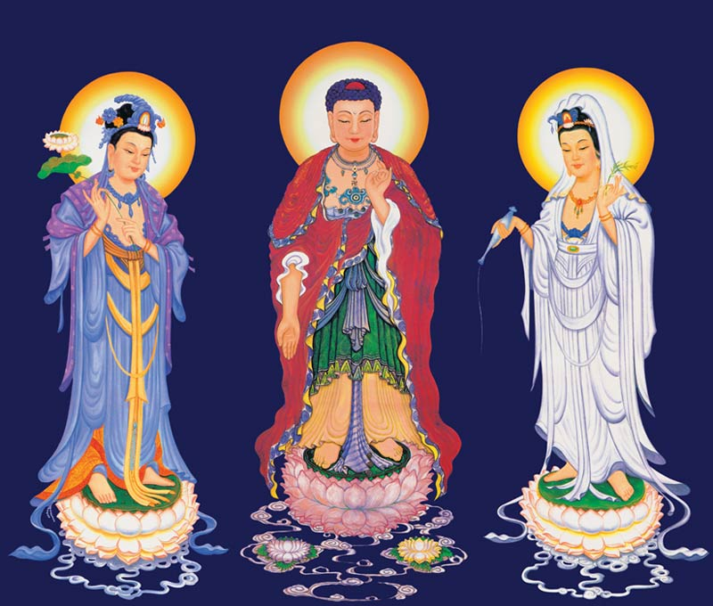 sharing Poster Buddha Three Pure Land Sages