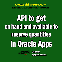 API to get on hand and available to reserve quantities in Oracle Apps, www.askhareesh.com
