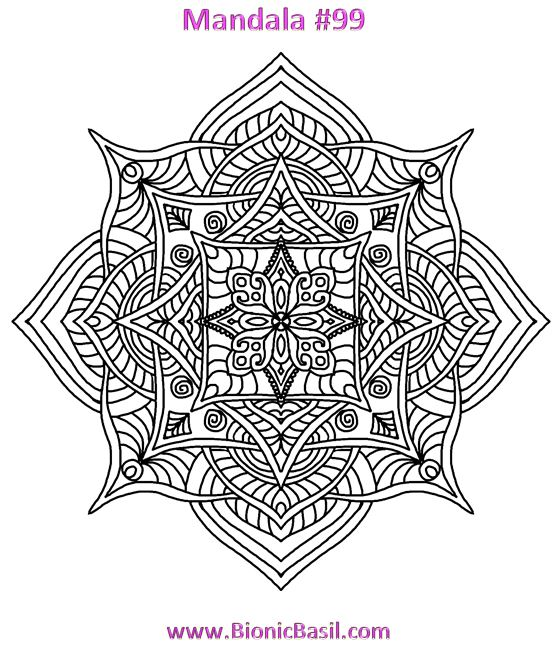 Mandalas on Monday ©BionicBasil® Colouring With Cats #99 Downloadable Image