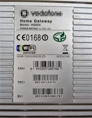 Router MAC and SN on the back label