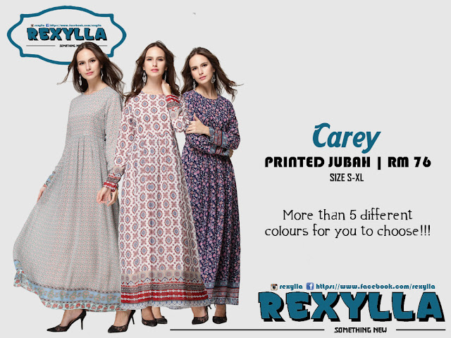 rexylla, printed jubah, pleated, carey collection