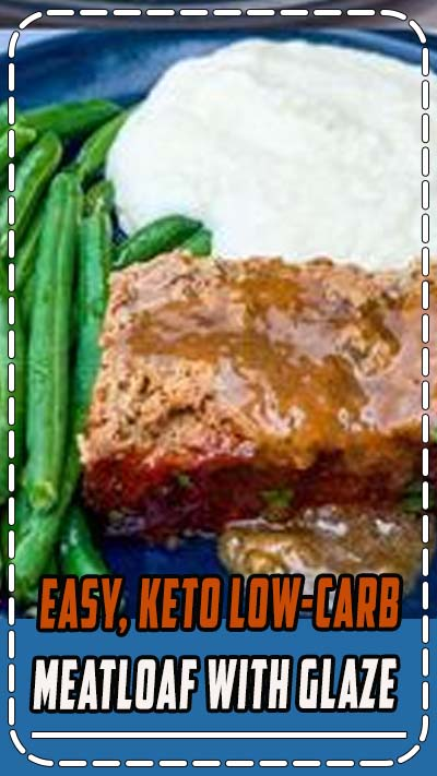 Easy, Keto Low-Carb Meatloaf with Glaze is the best healthy, quick recipe for classic meatloaf without the breadcrumbs. This dish is gluten-free, grain-free, perfectly seasoned with Italian Seasoning, and uses almond flour as a binder. If you want to save calories you can use ground turkey. Your keto dinner ideas should definitely include this meal! #KetoRecipes #KetoMeatloaf