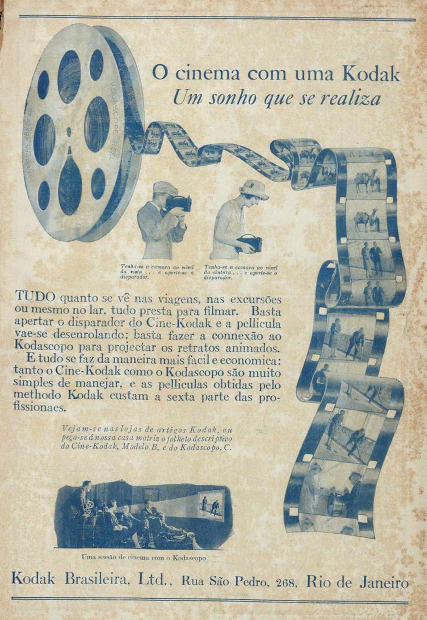 Propaganda antiga da Kodak promovendo sua linha de aparelhos para cinema em casa