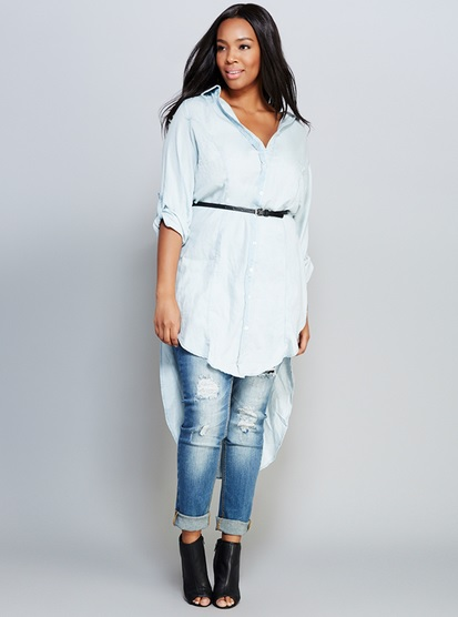 Side Slit Denim Duster by Wet Seal