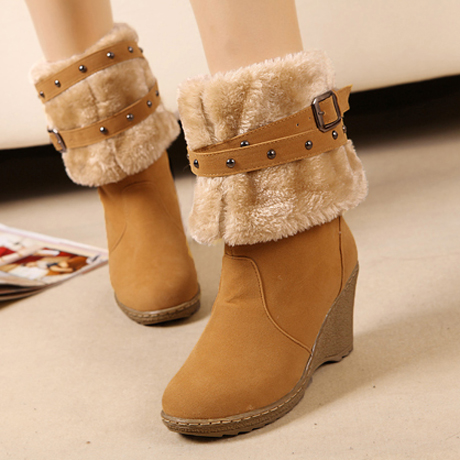 Double-Wear Round Toe Suede Wedges Boots2
