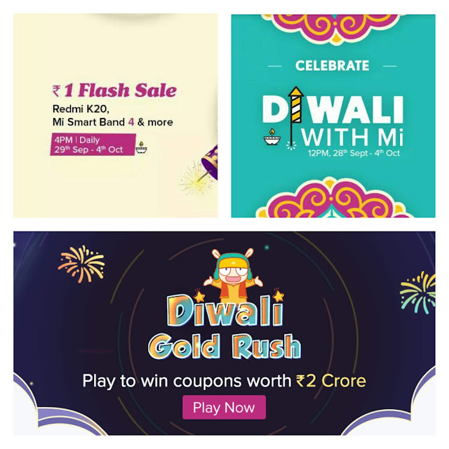 xiaomi mi Diwali ₹1 flash sale 2019
