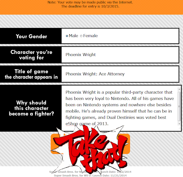 Phoenix Wright Ace Attorney Smash Bros. Fighter Ballot Take That