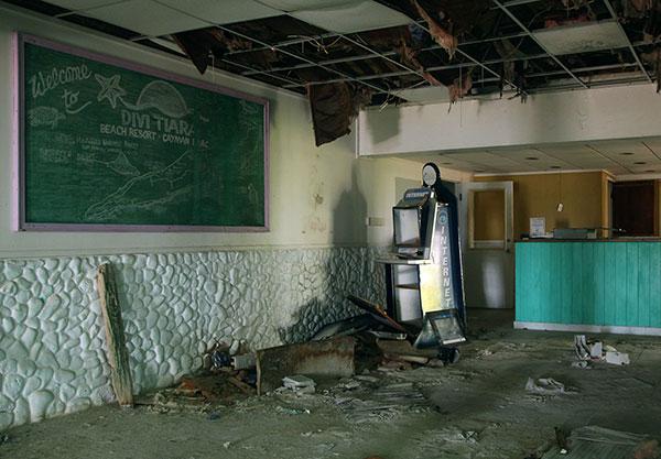 Abandoned hotel lobby in Cayman Brac