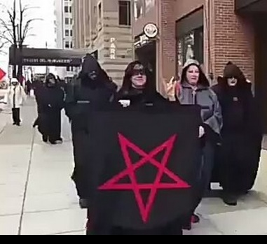 """American Satanists hit the streets in protest against president Donald Trump!"""