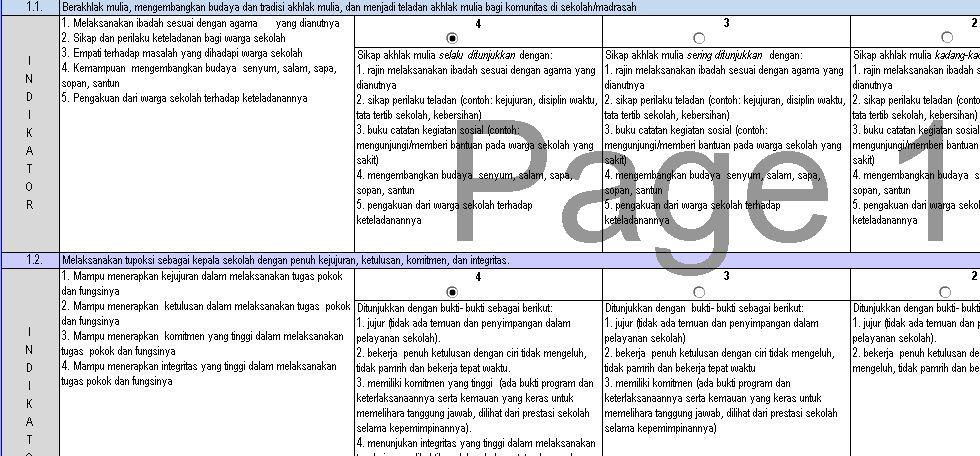 Download Instumen Penilaian Kinerja Kepala Sekolah Tingkat SMA Tahun 2016 Format Microsoft Excel