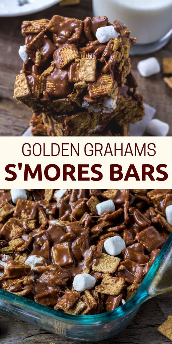 These Golden Grahams S'Mores Bars are gooey, chewy, a little crunchy, and the perfect way to enjoy s'mores indoors.