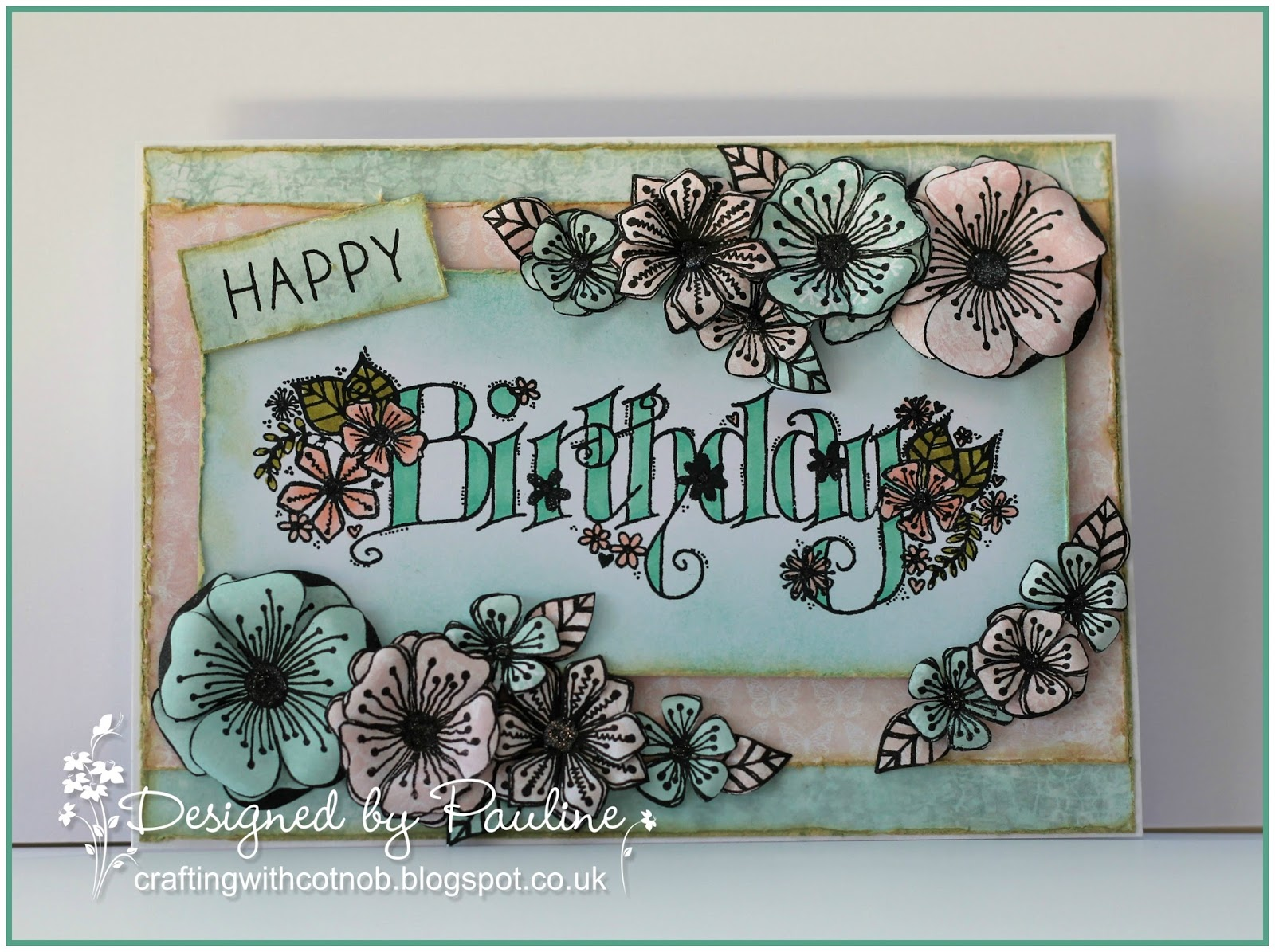 Crafting with cotnob birthday flowers i used papers from the vintage dreams paper pad and coloured the stamp with my spectrum noir illustrator pens i lightly distressed the edges of everything izmirmasajfo