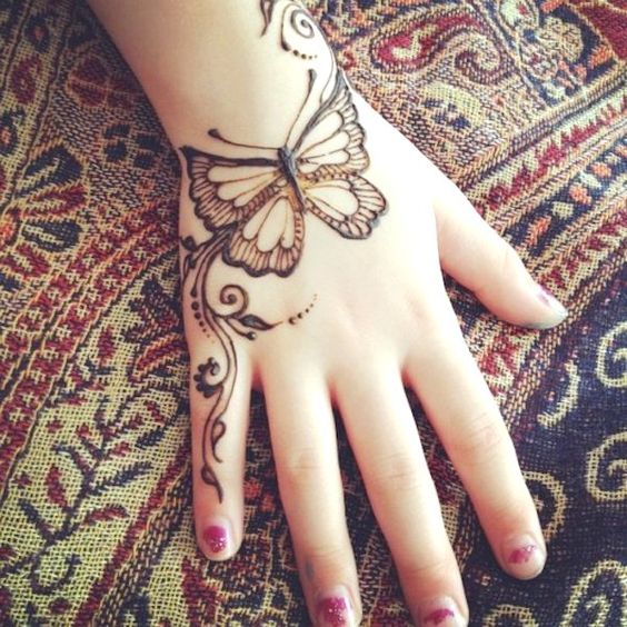 butterfly mehndi design 2021 easy and beautiful for back hand