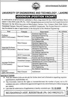 UET Lahore Jobs 2020 Advertisement, University of Engineering & Technology Lahore