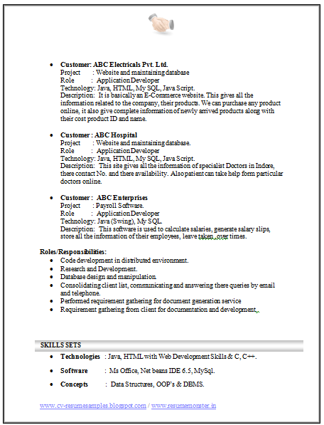sample resume for computer science freshers