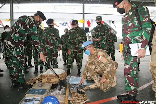 Pemeriksaan Kesiapan Satgas MTF TNI Konga XXVIII-M UNIFIL TA, 2021