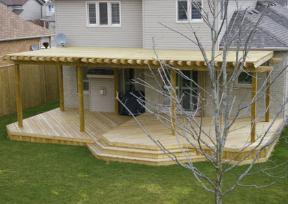 Backyard deck design with open roof wood