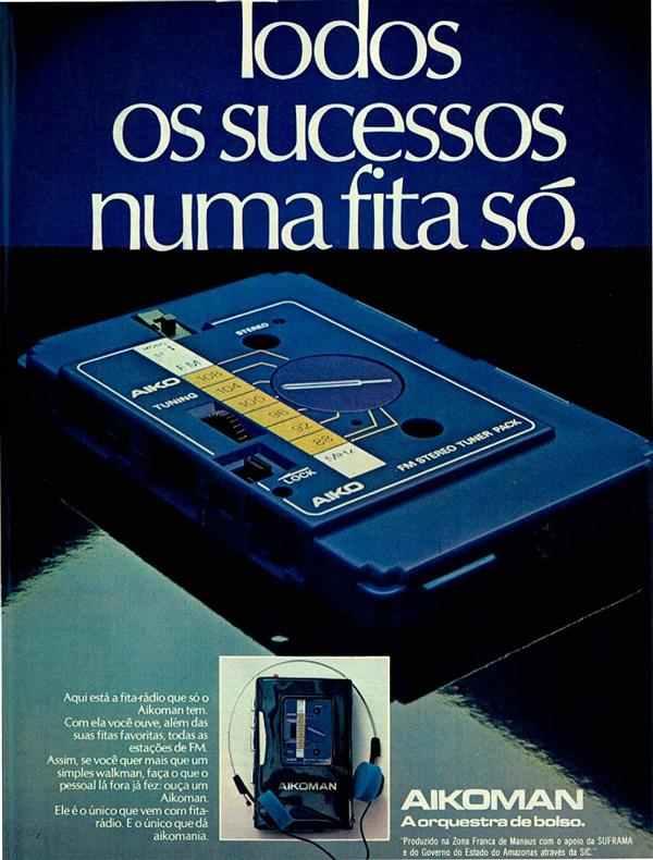 Anúncio antigo da Aikoman promovendo seu Walkman com rádio e fita cassete em 1982