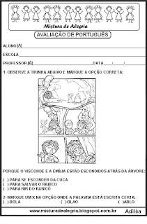 Avaliação de português sobre o folclore