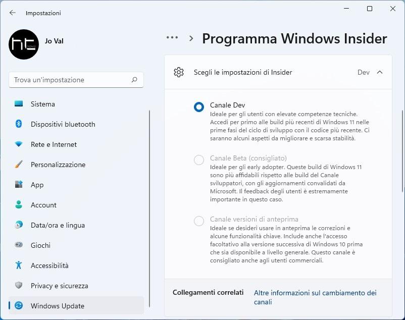 Windows 11: impossibile passare dal canale Dev a Beta del Programma Insider