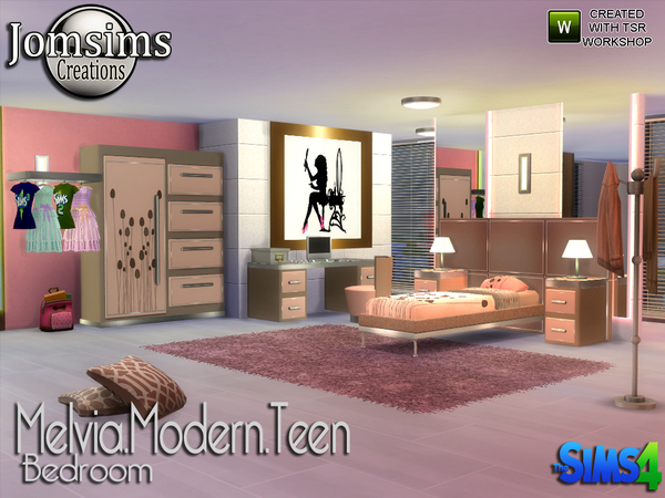 My Sims 4 Blog: Melvia Modern Teen Bedroom Set by JomSims