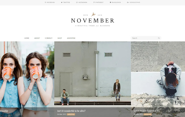 November Responsive Personal Blog Artist Blog Designer Blog Fashions Girly Update Blogger Template Theme