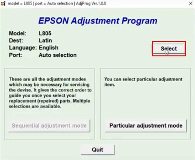 Reseteo gratis de impresora Epson L805