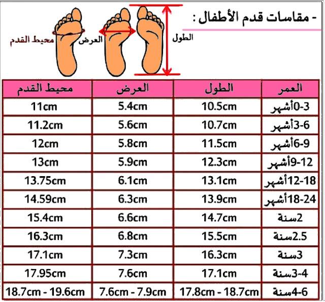 مقاسات قدم الاطفال / مقسات احذية لمختلف الاعمار /