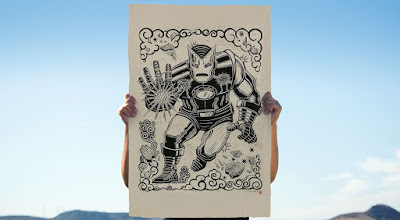 Iron Man Marvel Linocut Print by Attack Peter x Sideshow Collectibles