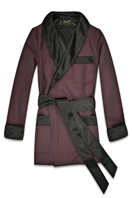 mens burgundy silk smoking jacket robe dressing gown
