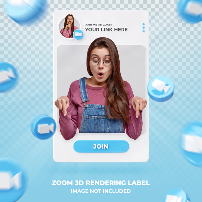 Banner Icon Profile On Zoom 3D Rendering Label Template