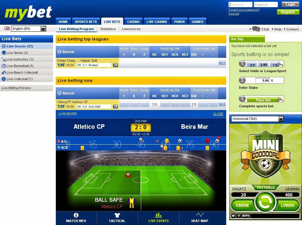 Mybet Live Betting Screen