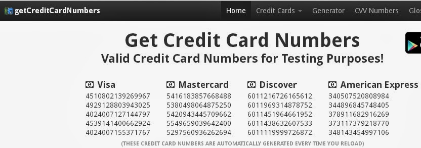 Image Result For Credit Card Numbers