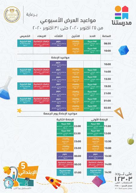 جدول قناة مدرستنا للصف الخامس الابتدائي 2021 - الاسبوع الثاني