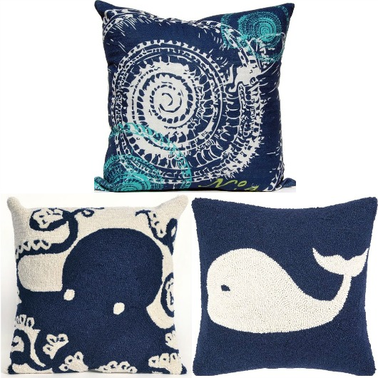 Nautical Navy Blue Pillows