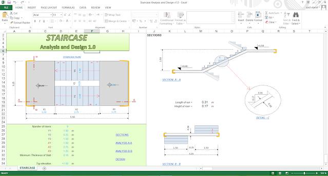 ملف اكسيل لتصميم الدرج او السلالم بكل انواعها-Staircase Analysis and Design