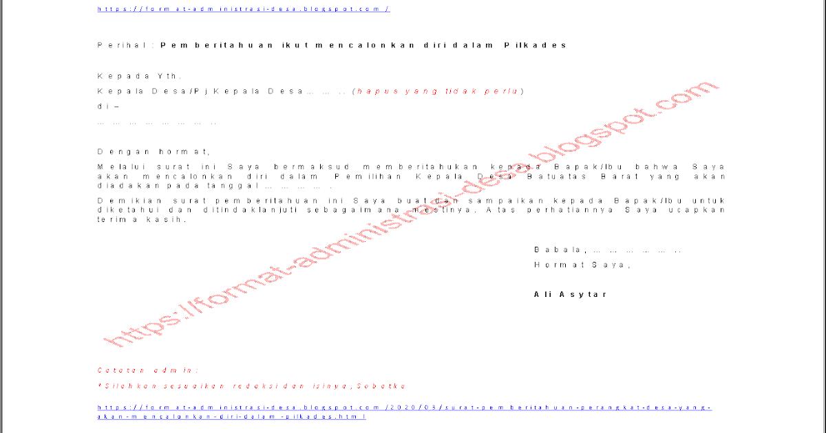 Contoh Surat Permohonan Izin Cuti Perangkat Desa | CONTOH ...