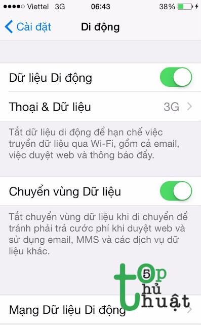 tiến hành bật 3G