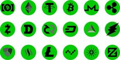 Showing Logos of 20 Top Cryptocurrencies in the Market in green Shade