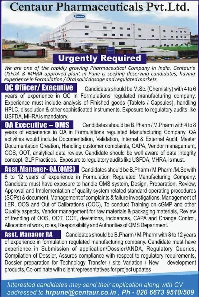 Centaur Pharmaceuticals | Urgent openings in QC/QA/RA at Pune