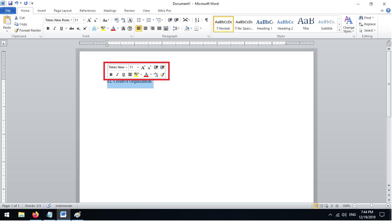Memasukan dan Formatting Teks Muncul Pop Up Setelah Blok kata