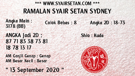 Syair Setan Sydney Minggu 13 September 2020