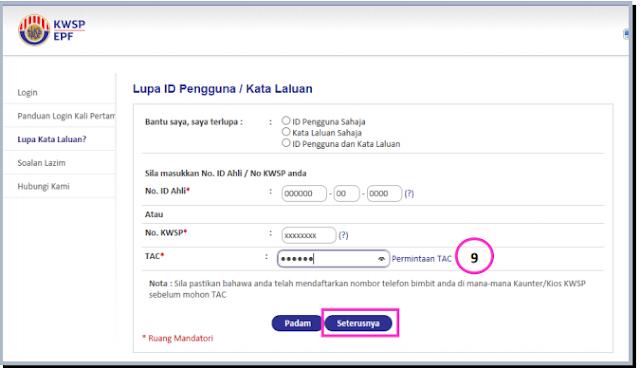 lupa password i-akaun kwsp