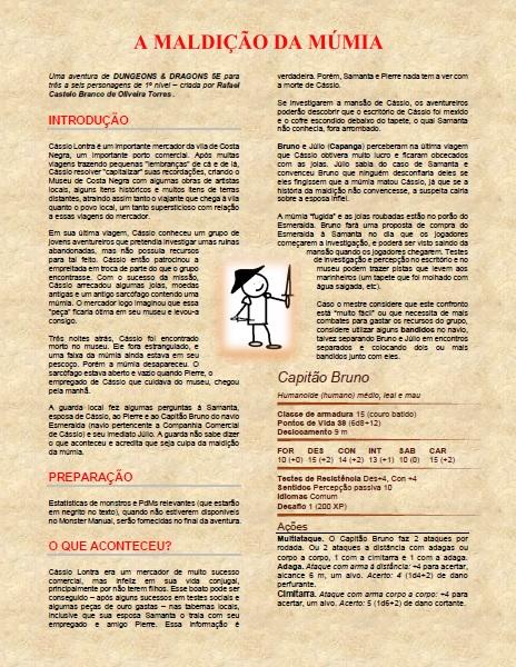 A MALDIÇÃO DA MÚMIA - DESAFIO ONE-PAGE