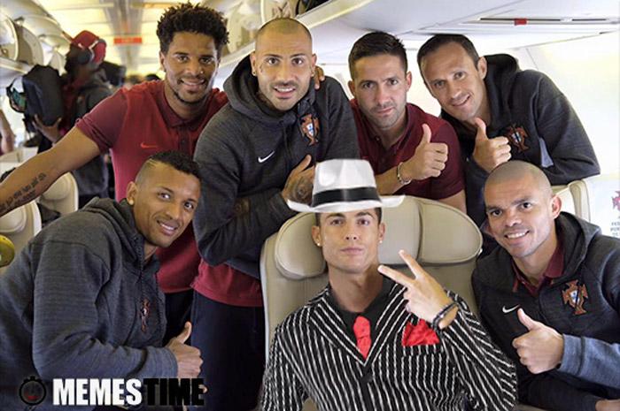 Meme Cristian Ronaldo, Ricardo Quaresme e outros colegas da Seleção Portuguesa  – Don Vito Ronaldo à espera da sua próxima vítima…
