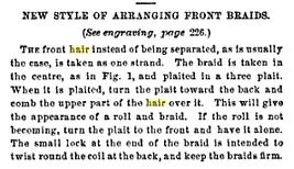 """New Style of Arranging Front Braids"", page 311 of Godey's, September 1862"
